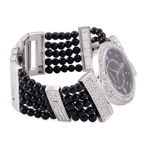 STRADA Japanese Movement Black Agate and Austrian Crystal Studded Watch