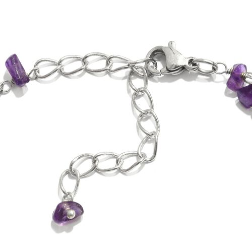 Two Row Rose Quartz and Amethyst Bracelet (Size 7.5 with 2 inch Extender) in Silver Tone