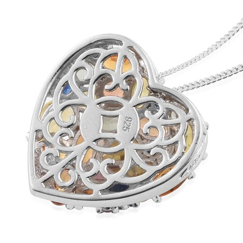 AAA Grade Orange Sapphire (Ovl), Yellow Sapphire, Green Sapphire, Kanchanaburi Blue Sapphire and Multi Gemstone Heart Pendant With Chain (Size 30) in Platinum Overlay Sterling Silver 5.00 Ct.