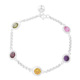 One Time Deal- ELANZA AAA Simulated Multi Colour Diamond (Rnd) Bracelet (Size 8) in Sterling Silver, Silver wt. 6.00 Gms.