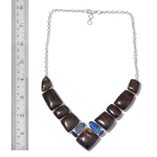 Boulder Opal Rock and Opal Double Necklace (Size 18 with 1 inch Extender) in Sterling Silver 258.100 Ct.