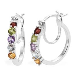 One Time Close Out Deal- Hebei Peridot (Rnd), Mozambique Garnet and Multi Gemstone Hoop Earrings (with Clasp Lock) in Sterling Silver 1.250 Ct.