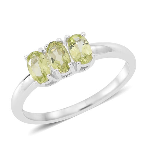 Hebei Peridot (Ovl) Trilogy Ring and Pendant Set in Sterling Silver.