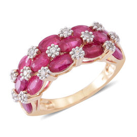 9K Yellow Gold AAA Burmese Ruby (Ovl), Natural White Cambodian Zircon Ring 4.000 Ct.