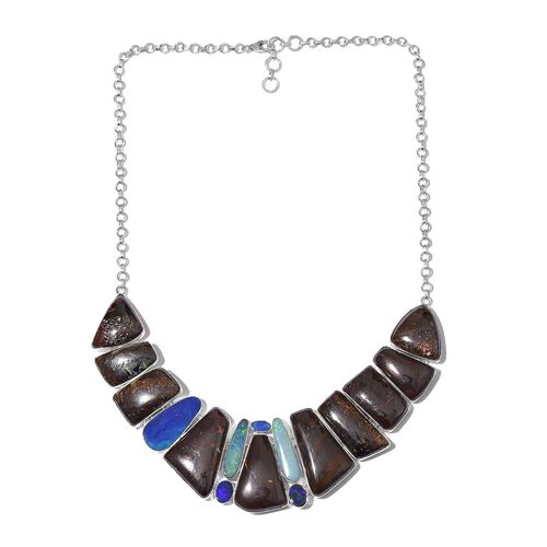 Boulder Opal Rock and Opal Double Necklace (Size 18 with 1 inch Extender) in Sterling Silver 194.851 Ct.