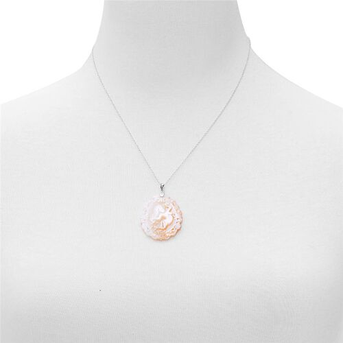 White Shell ZODIAC Virgo Pendant With Chain in Sterling Silver