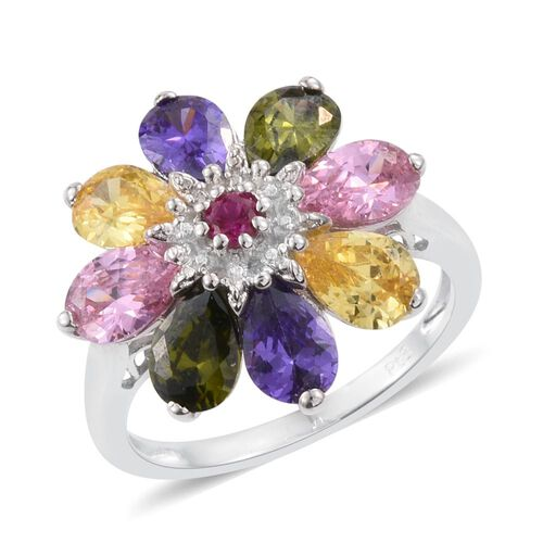 AAA Simulated Ruby (Rnd), Simulated Citrine, Simulated Peridot, Simulated Pink Sapphire and Simulated Tanzanite Floral Ring in ION Plated Platinum Bond