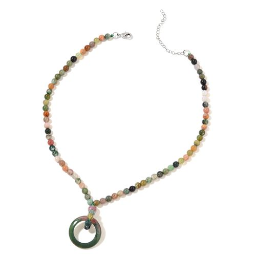 One Time Deal-Indian Agate Necklace (Size 18) in Silver Plated 148.000 Ct.
