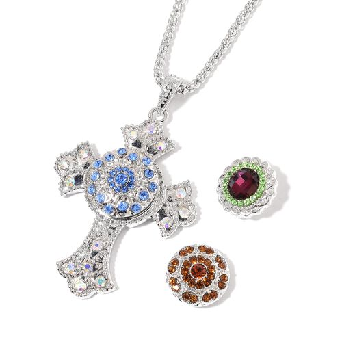 AAA Blue, Brown, Green and Magic Colour Austrian Crystal Cross Pendant With Chain (Size 32 with 3 inch Extender) with 3 Interchangeable Charms in Silver Tone