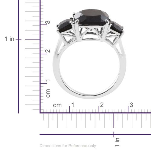 Boi Ploi Black Spinel (Cush 3.00 Ct) 3 Stone Ring in Sterling Silver 4.000 Ct.
