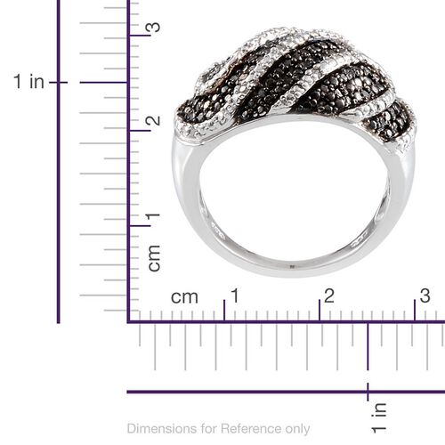 Black Diamond (Rnd), Diamond Ring in Platinum Overlay Sterling Silver 0.330 Ct.