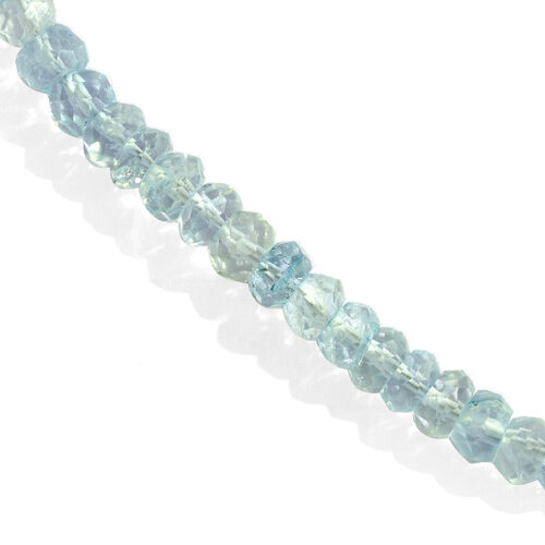 Espirito Santo Aquamarine Beaded Necklace (Size 20 with Extender) in Rhodium Plated Sterling Silver 125.000 Ct.