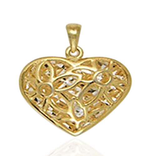 Vicenza Collection Yellow Gold Overlay Sterling Silver Floral Engraved Heart Pendant.