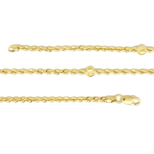 Close Out Deal-9K Y Gold Rope with Ball Charm Necklace (Size 36), Gold wt 6.21 Gms.