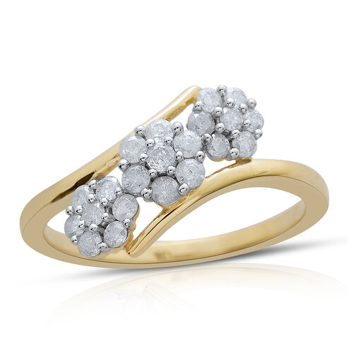 9K Y Gold SGL Certified Diamond (Rnd) (I3/G-H) Triple Floral Ring 0.500 Ct.
