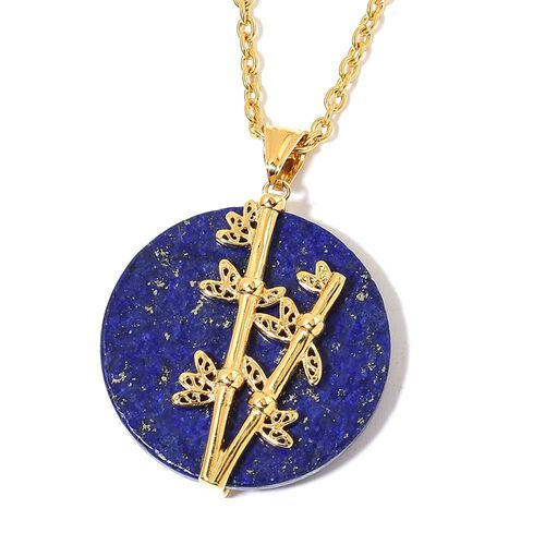 Lapis Lazuli Pendant with Chain (Size 20) in ION Plated Yellow Gold Stainless Steel 50.000 Ct.