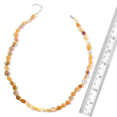 Limited One Time Deal- Rare Fossil Coral Necklace (Size 18 with 2 inch Extender) in Rhodium Plated Sterling Silver 110.500 Ct.