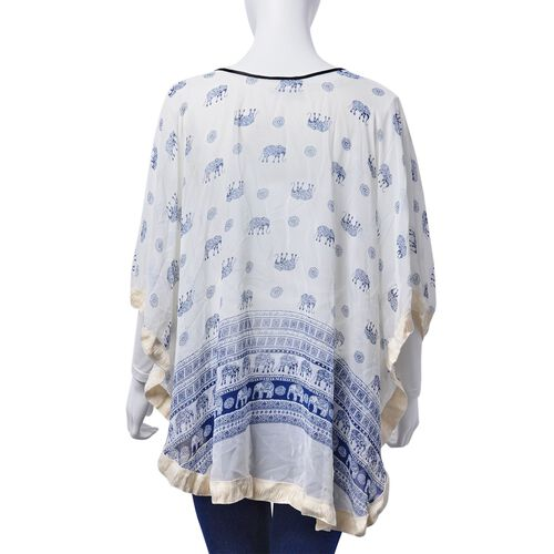 Floral and Elephant Pattern White and Blue Colour Poncho (Free Size)