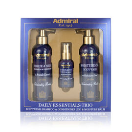 Admiral Daily Essential Trio Hydrate and shine shampoo and Conditioner, Body Wash and 50ml Moisturising Balm