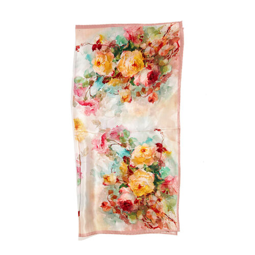 100% Mulberry Silk Green, Brown and Multi Colour Floral Pattern Pink Colour Scarf (Size 50x50 Cm)