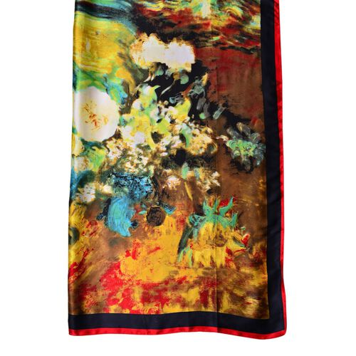 One Time Deal-Designer Inspired 100% Mulberry Silk Yellow, Green and Multi Colour Floral Pattern Scarf (Size 88x85 Cm)