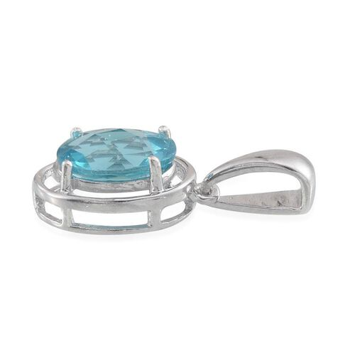 Paraibe Apatite (Ovl) Solitaire Pendant in Platinum Overlay Sterling Silver 2.000 Ct.