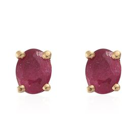 African Ruby Stud Earrings (with Push Back) in 14K Gold Overlay Sterling Silver