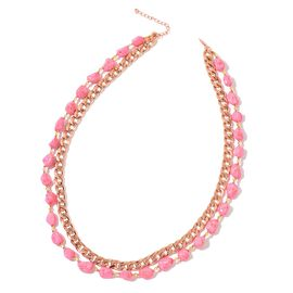 Pink Howlite, Simulated Champagne Diamond and Simulated Golden Pearl Curb Chain Necklace (Size 28 with Extender) in Rose Gold Tone 513.000 Ct.