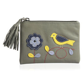 100% Genuine Leather RFID Blocker Khaki, Yellow and Multi Colour Bird with Flower Pattern Wallet with Multiple Card Slots (Size 13X9 Cm)
