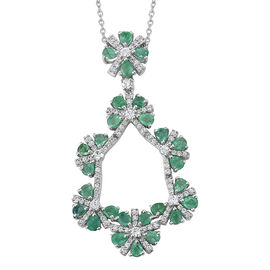 Kagem Zambian Emerald (Pear), Natural Cambodian Zircon Flower Pendant with Chain in Platinum Overlay Sterling Silver 5.000 Ct. Silver wt 9.09 Gms.