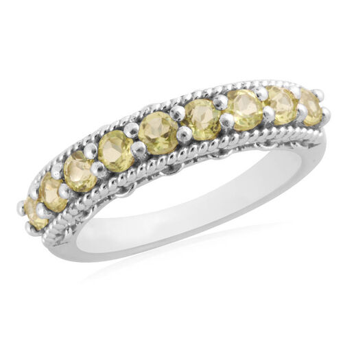 Hebei Peridot (Rnd) Half Eternity Ring in Sterling Silver 1.440 Ct.