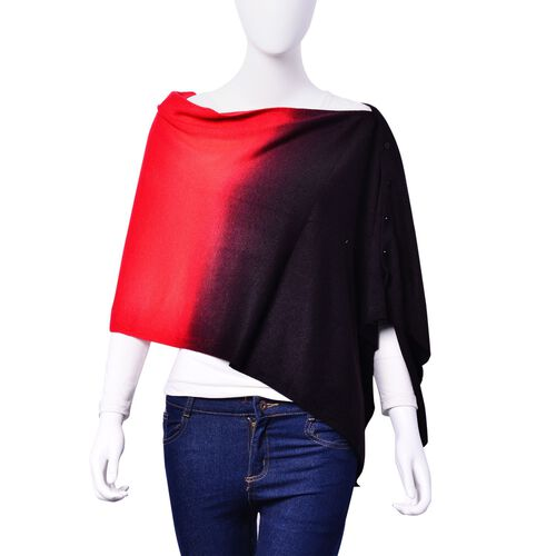 Designer Inspired Red and Black Colour Poncho with Button (Size 130x25 Cm)