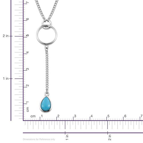 Arizona Sleeping Beauty Turquoise (Pear) Necklace (Size 18) in Platinum Overlay Sterling Silver 1.000 Ct.