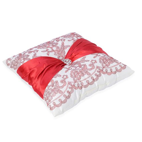 Red Colour Flowers Embroidered White Colour Cushion with Red Colour Christmas Bowknot and Synthetic White Crystal (Size 40x40 Cm)