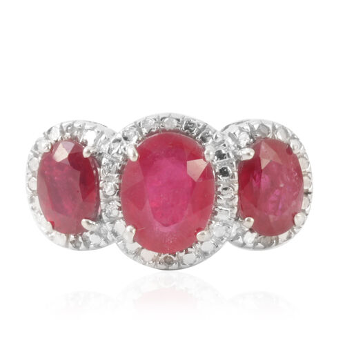 African Ruby (Ovl 2.75 Ct), Diamond Ring in Rhodium Plated Sterling Silver 5.020 Ct.