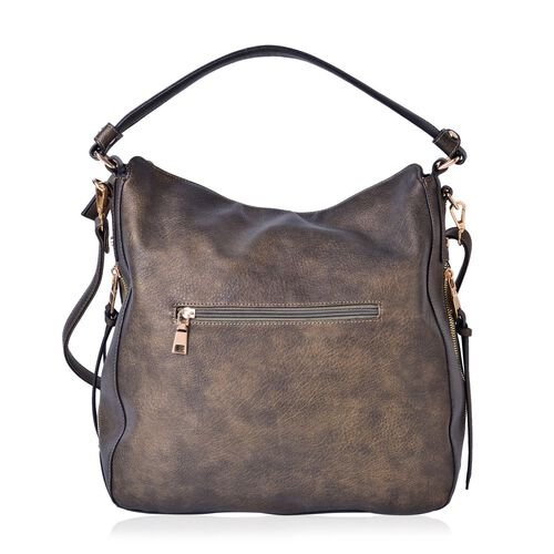Bronze Colour Hobo Bag with External Zipper Pocket and Adjustable and Removable Shoulder Strap (Size 41x32x28x12.5 Cm)