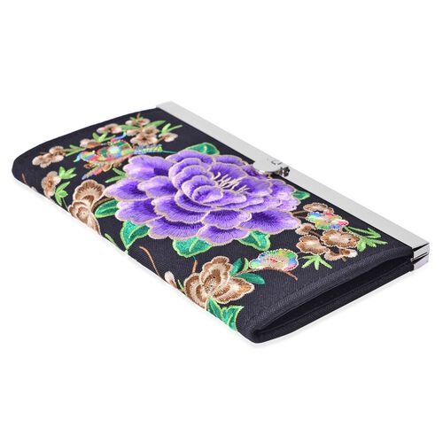 Shanghai Collection Luxury Purple Peony Ladies Wallet (Size 19x9.8x1.5 Cm)
