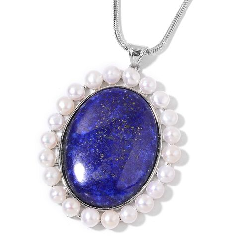 Lapis Lazuli and Fresh Water White Pearl Pendant With Chain (Size 19 with 2 inch Extender) in Silver Tone 97.500 Ct.