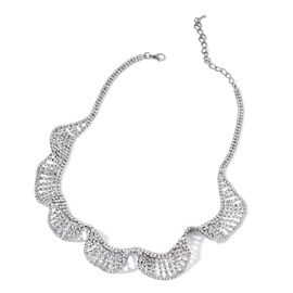 Designer AAA White Austrian Crystal Wave Necklace (Size 20 with 2 inch Extender) in Black Tone