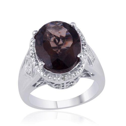 Brazilian Smoky Quartz (Ovl 6.75 Ct), Diamond Ring in Platinum Overlay Sterling Silver 6.770 Ct.