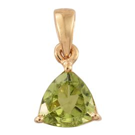 Hebei Peridot 1.25 Ct Silver Solitaire Pendant in Gold Overlay