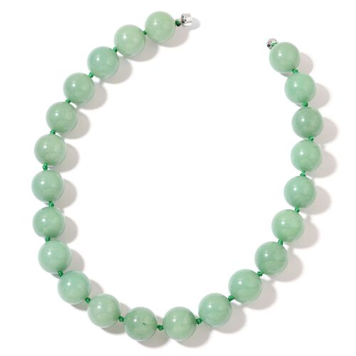 Green Aventurine Necklace (Size 20) in with Magnetic Clasp Rhodium Plated Sterling Silver 1218.000 Ct.
