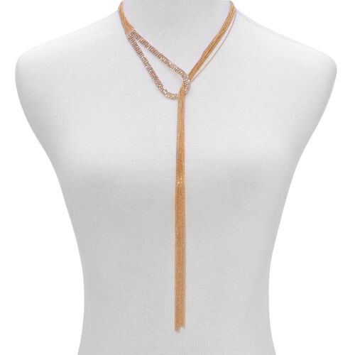 White Austrian Crystal Necklace (Free Size) in Gold Tone