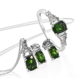 Russian Diopside (Cush), White Topaz Ring, Pendant with Chain and Stud Earrings in Platinum Overlay Sterling Silver 3.750 Ct.