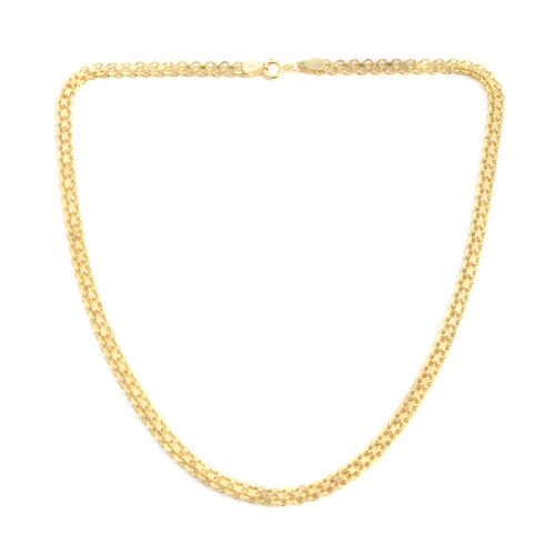14K Gold Overlay Sterling Silver Hollow Bismark Chain (Size 20), Silver wt 9.70 Gms.