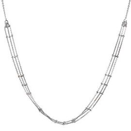 Sterling Silver Triple Strand Beads Adjustable Necklace (Size 20), Silver wt 3.60 Gms.