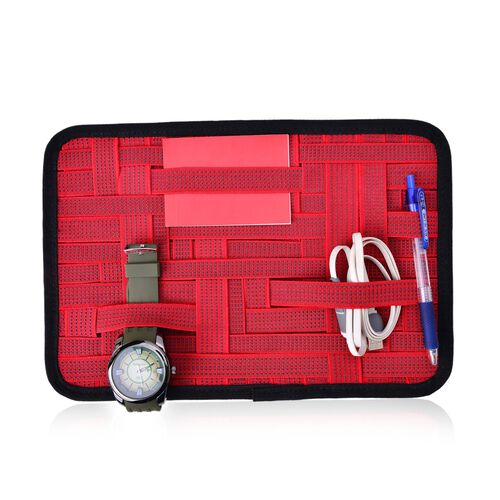 Red Colour Grid Pattern iPod, iPhone, Blackberry and Other Digital Devices Organizers (Size 31x21 Cm)