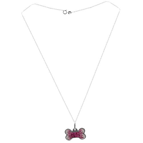 Close Out Deal Pink and White Austrian Crystal (Rnd) Bone Shape Pendant With Chain in Rhodium Plated Sterling Silver