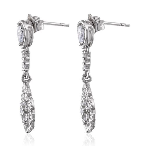 (Option 3) J Francis - Platinum Overlay Sterling Silver (Rnd) Earrings (with Push Back) Made with SWAROVSKI ZIRCONIA