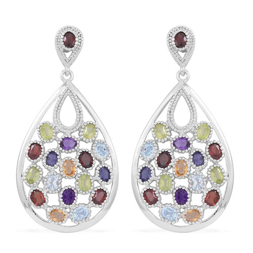 Mozambique Garnet (Ovl), Hebei Peridot, Sky Blue Topaz, Citrine, Amethyst and Iolite Earrings (with Push Back) in Rhodium Plated Sterling Silver 7.250 Ct.